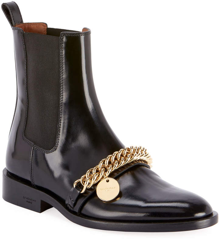 b818a3a6d0e Chain-Trim Chelsea Ankle Booties
