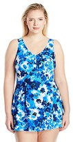 Maxine Of Hollywood Women's Plus Size Floral Crush Empire Swim Dress One Piece Swimsuit
