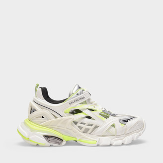 Balenciaga Track.2 Open Trainers In White And Fluo Yellow Synthetic Leather