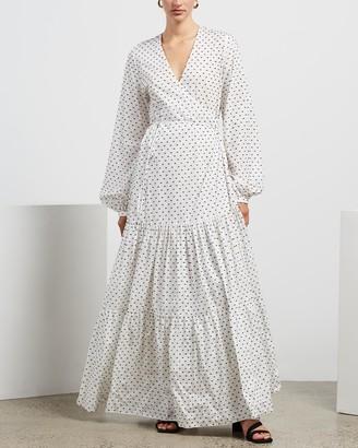 MATIN Long Wrap Tiered Dress