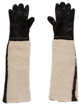 Marni Leather Shearling-Trimmed Long Gloves