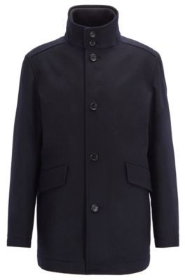 Funnel-neck car coat in virgin wool with cashmere