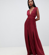 Asos Tall DESIGN Tall Lace Insert Pleated Maxi Dress