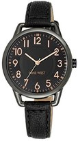 Nine West Women's NW/1699GNBK Easy-To-Read Dial Watch With Black Faux-Leather Band