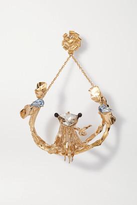 Valentino Garavani Gold-tone Crystal Earring - Light blue
