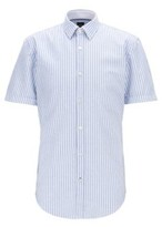BOSS Slim-fit shirt in striped cotton with contrast details