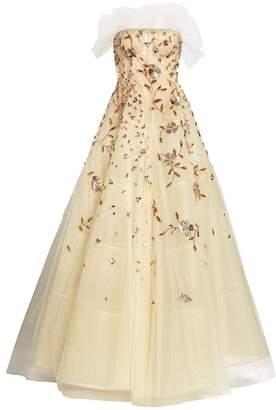 Oscar de la Renta Embellished Tulle Strapless A-Line Ball Gown