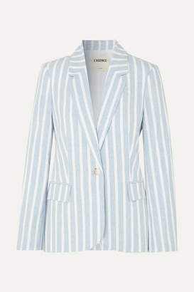 L'Agence Scout Striped Linen And Cotton-blend Blazer - Blue