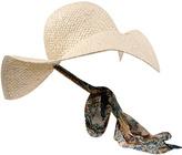 Metallic Floral Strap Sun Hat