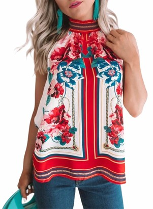 AlvaQ Women's Floral Print Boho Tank Top Summer Halter Sleeveless Casual Shirt Blouse Red