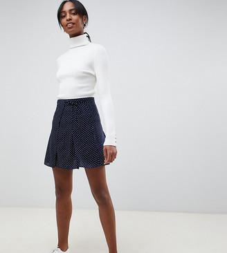 Asos DESIGN Tall wrap mini skirt in polka dot