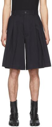 Maison Margiela Navy Stripes Wool Shorts