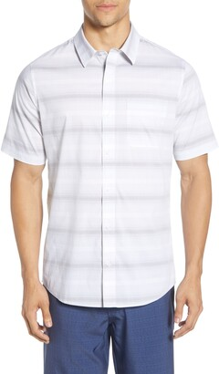 Travis Mathew TravisMathew Grand Slammed Regular Fit Stripe Short Sleeve Button-Up Shirt