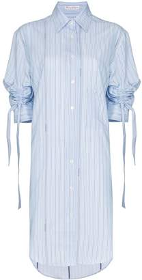 J.W.Anderson Ruched sleeve pinstripe shirt dress