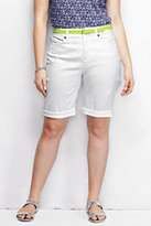 Classic Women's Plus Size Mid Rise Roll Cuff Shorts-White