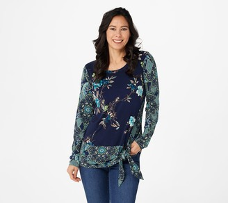 Susan Graver Printed Liquid Knit Top with Side Tie