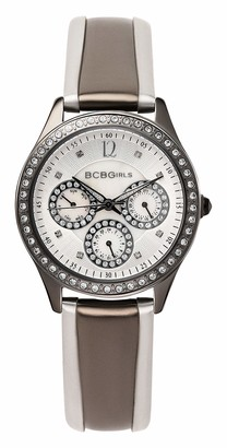 BCBGMAXAZRIA BCB Girls Women's Quartz Watch with Ivory Dial Analogue Display and Multicolour Leather Strap GL2068