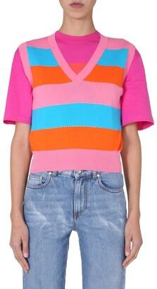 MSGM Striped Sleeveless Knit Vest