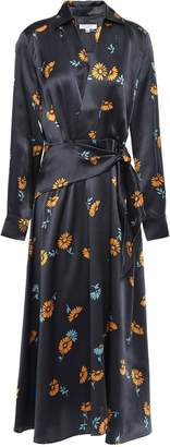Equipment Wrap-effect Floral-print Silk-satin Midi Dress