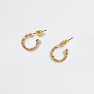 River Island Gold colour beaded hoop earrings