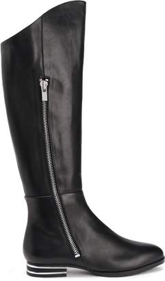 DKNY Lolita Silver Tone-trimmed Leather Knee Boots