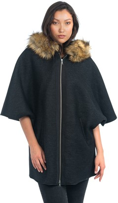 Nuage Italian Wool Blend Cape w/Faux Fur Hood
