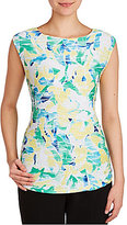 Allison Daley Sleeveless Leafy Print Wide Crew-Neck Knit Top