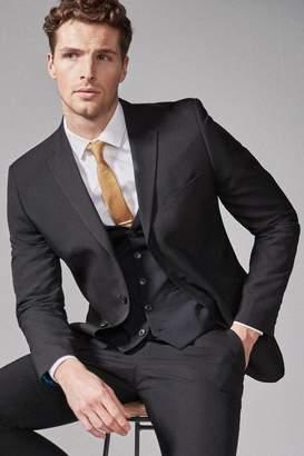 Next Mens Black Slim Fit Three Button Suit: Jacket - Black