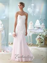 Mon Cheri - Semi-Sweetheart Chiffon Dress in Ivory/Pink 215107