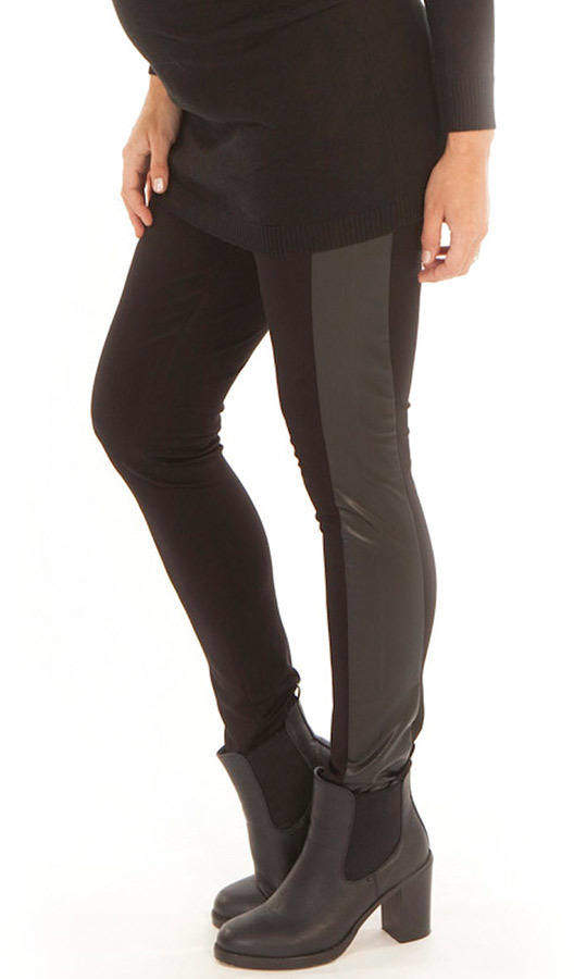 Angel Maternity Maternity Faux Leather Panel Leggings