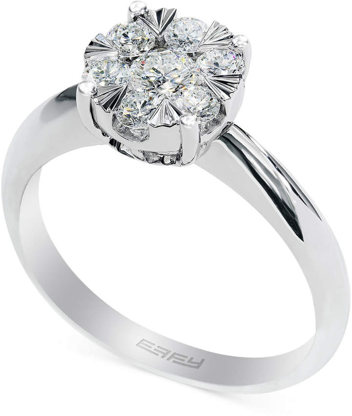 Effy Diamond Halo Ring in 14k White Gold (3/5 ct. t.w.)