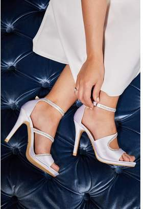 Quiz Bridal Ivory Satin Diamante Strap Heel Sandals