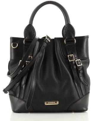 Burberry Bridle Whipstitch Convertible Tote Leather Small