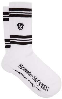 Alexander McQueen Skull Jacquard Cotton Blend Socks - Mens - White Black