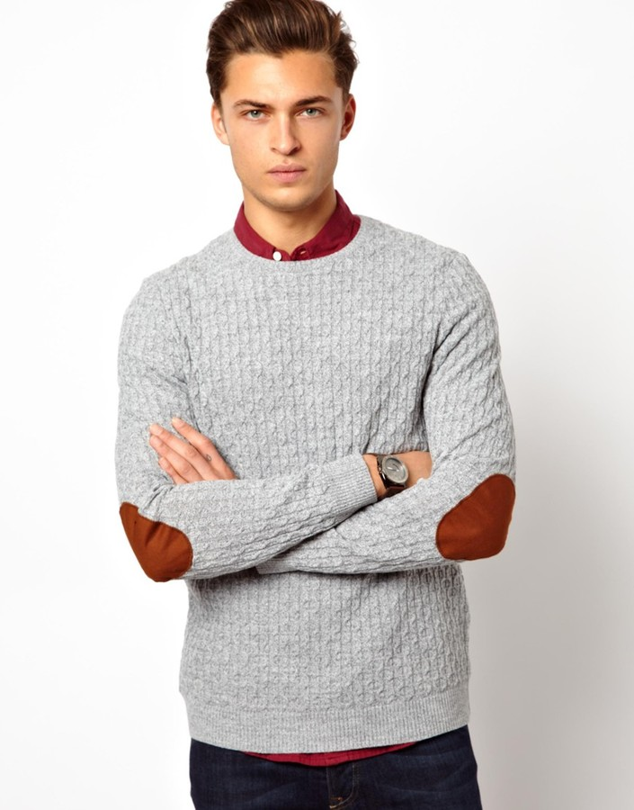 Asos Cable Sweater with Elbow Patches