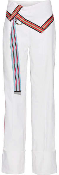 Diane von Furstenberg Grosgrain-trimmed Stretch Linen-blend Wide-leg Pants - Off-white
