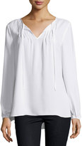 Neiman Marcus Sheer Pintucked Peasant-Sleeve Blouse, White