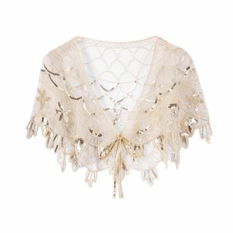 Ro Rox Women's Lillian 1920's Wedding Flapper Shrug Great Gatsby Party Wrap Scarf Shawl One Size Champagne