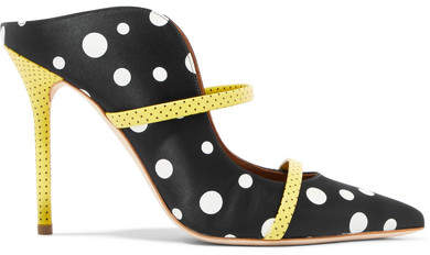 Malone Souliers Maureen 100 Polka-dot Leather-trimmed Faille Mules - Black