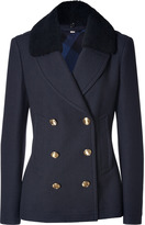 Burberry Wool-Cashmere Top Cliffes Jacket in Navy