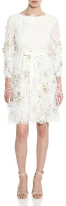 Marchesa Feather Embellished Long Sleeve Lace Dress