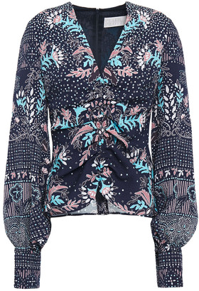 Peter Pilotto Ruched Printed Cloque Blouse