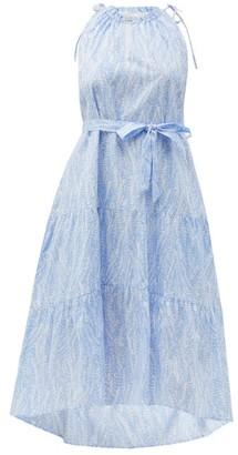 Heidi Klein Cape Verde Tie-waist Feather-print Cotton Dress - Blue Print