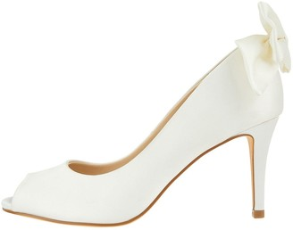 Monsoon Bessie Bow Satin Bridal Court Shoes - Ivory