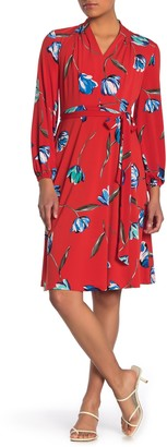 London Times Long Sleeve Tie Front Floral Jersey Dress (Petite)