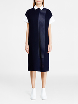 DKNY Pieced Pinstripe Midi Dress