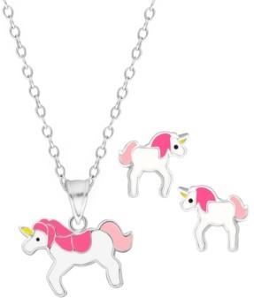 Rhona Sutton 4 Kids Children's Unicorn Pendant Necklace Stud Earrings Set in Sterling Silver