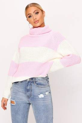 I SAW IT FIRST Dusky Pink Thick Stripe Knitted Roll Neck Jumper