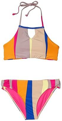 O'Neill Kids Sapa High Neck Bralette (Little Kids/Big Kids) (Neon Pink) Girl's Swimwear