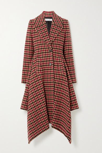 J.W.Anderson Asymmetric Checked Wool-blend Coat - Red